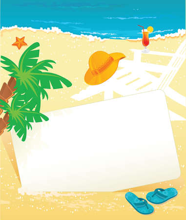 starfish on beach: Vector illustration of Summer tropical banner Illustration