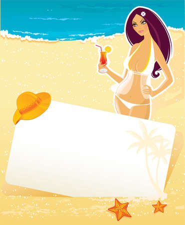 Vector illustration of Summer background with woman Stock Vector - 14865228