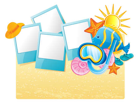 album photo: Vector illustration of Summer tropical banner Illustration