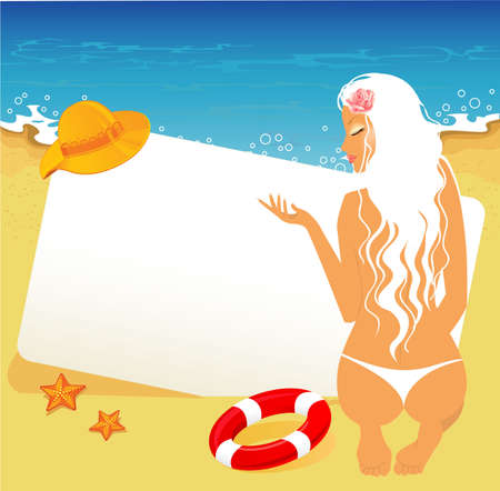 Vector illustration of Beauty woman on a beach Vector