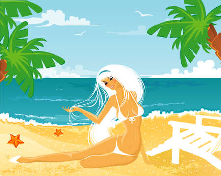 Vector illustration of Beauty woman on a beach Stock Vector - 14865137