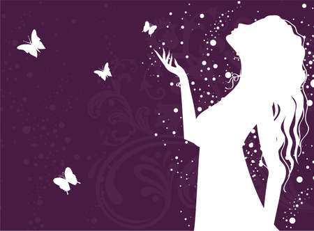 Vector illustration of Beauty woman with butterfly Vector