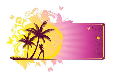 sexy bikini girl: Vector illustration of Summer tropical banner Illustration