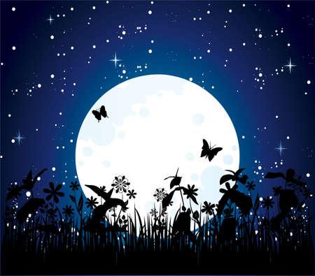 moon flower: Moon night