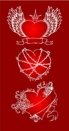 Vector illustration of Vintage heart Illustration