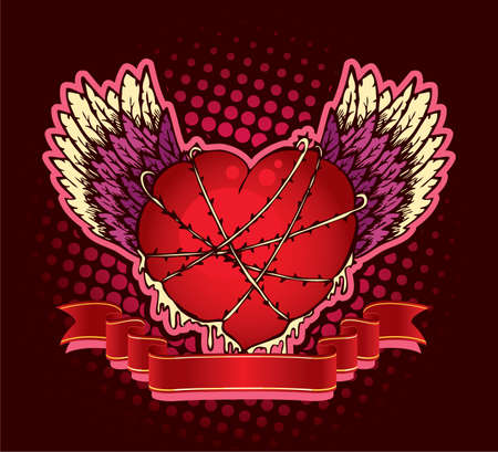 Vector illustration of Vintage heart Vector