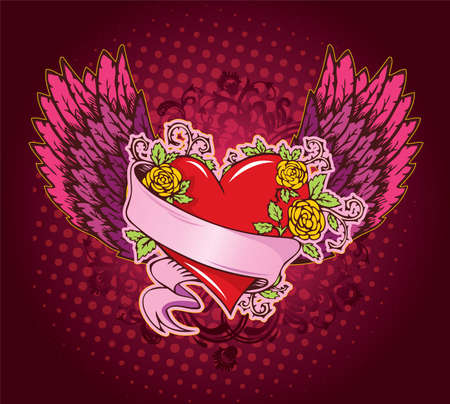 Vector illustration of Vintage heart Vector