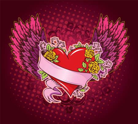 tattooing: Vector illustration of Vintage heart Illustration
