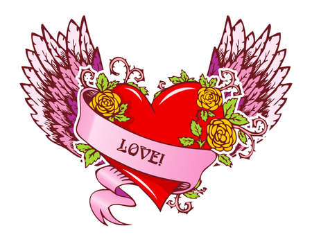 Vector illustration of Vintage heart with wings Vector