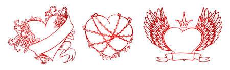 grunge wings: Illustrazione vettoriale di cuore Vintage Vettoriali