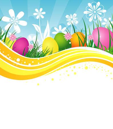fondos religiosos: Huevos de Pascua en hierba Vectores