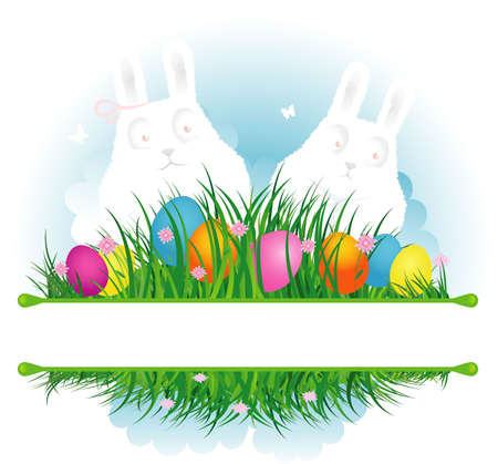 Easter eggs with grass and ribbon Vector