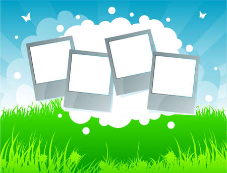 border cartoon: Vector illustration of Summer background with grass