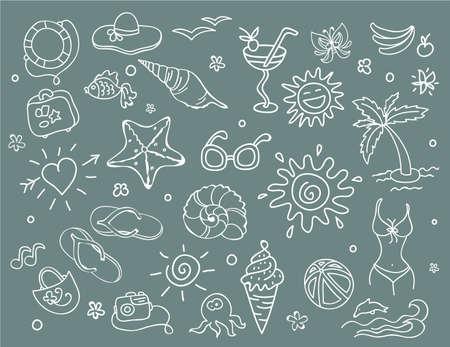 sandal tree: Vector illustration of Travel doodles set