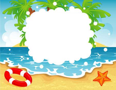 soleil rigolo: Vector illustration de la banni�re tropical d'�t� Illustration
