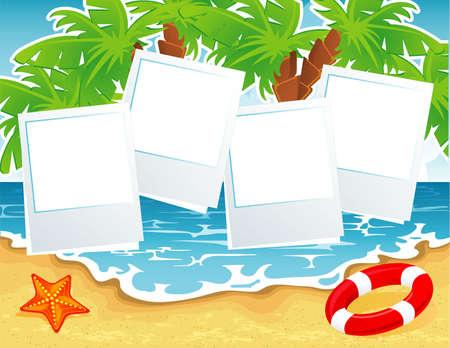 sandal tree: Vector illustration of Summer tropical banner Illustration