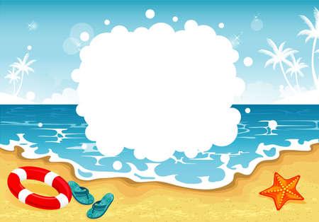 starfish beach: Vector illustration of Summer tropical banner Illustration