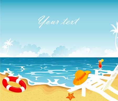 summer vacation: Vector illustration of Summer tropical banner Illustration