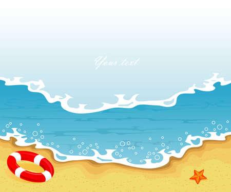 sandalias: Ilustración vectorial de la bandera de Verano tropical