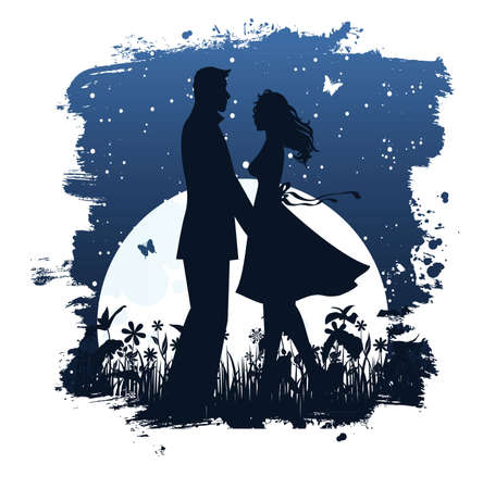 Lovers in night Stock Vector - 14865259