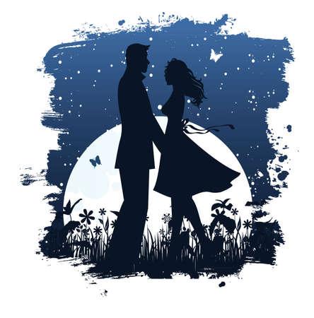 Lovers in night Stock Vector - 14865259