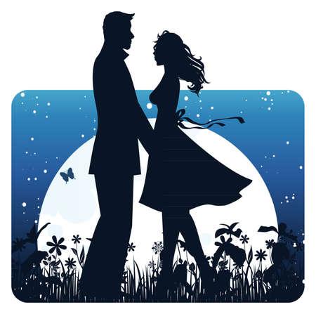 Lovers in nacht Vector Illustratie