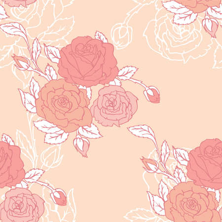 Vector illustration of Roses seamless pattern