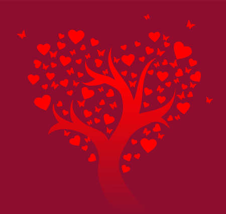 Stylized love tree Vector