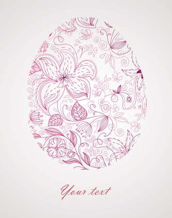 ostern lustig: Easter floral Ei Illustration