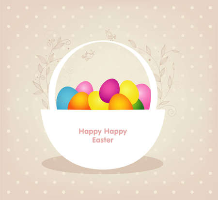 Easter basket with colored eggs Vector