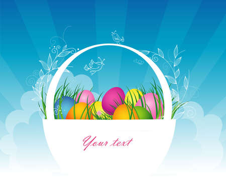 gift basket: Easter basket with colored eggs