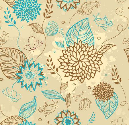 cartoon summer: Vector illustration of Floral seamless pattern