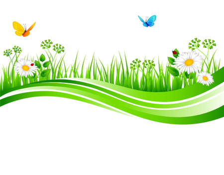 butterfly border: Vector illustration of Summer grass
