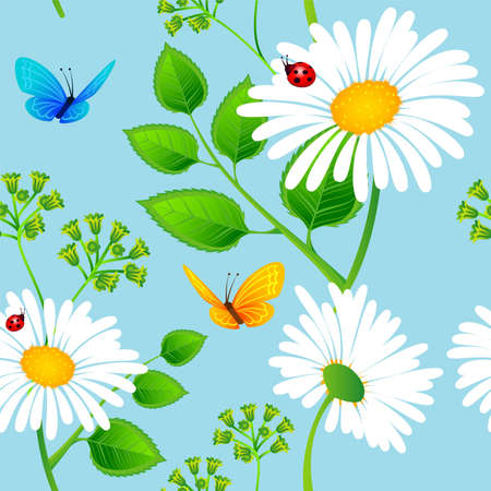 Vector illustration of Chamomile seamless background Vector