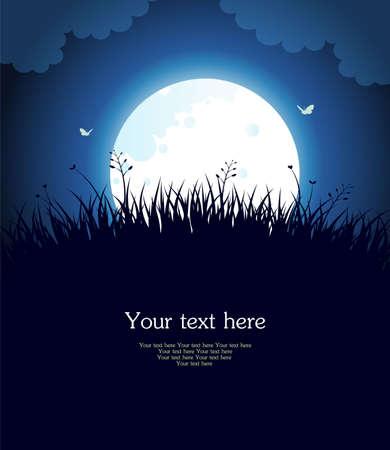 noche y luna: Luna noche Vectores