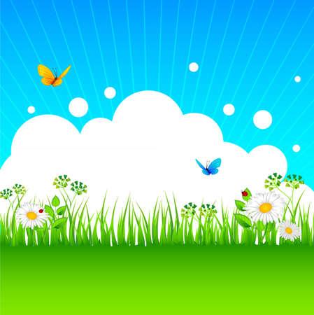sfondo natura: Illustrazione vettoriale di erba estate