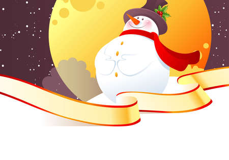 Vector illustration of Snowman in hat Vector