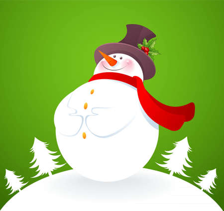 Vector illustration of Snowman on green back Vector