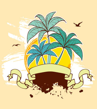 sunny beach: Vector illustration of Grunge back with palms Illustration