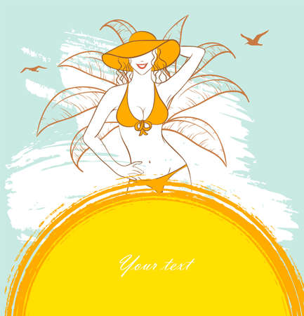 Vector illustration of Sunny woman Vector