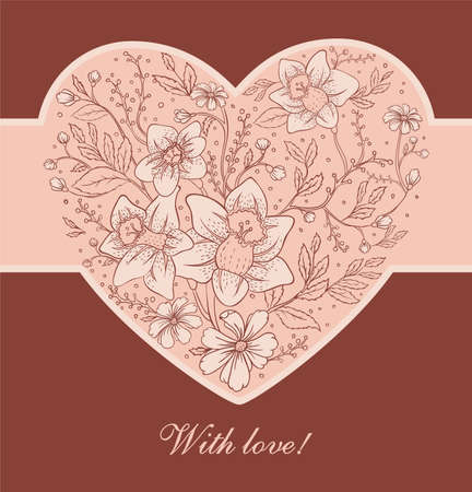 wed: Vector illustration of Floral heart