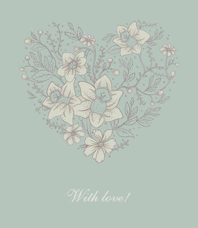 Vector illustration of Floral heart Stock Vector - 14865130