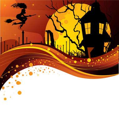 horror castle: Halloween de espalda Vectores