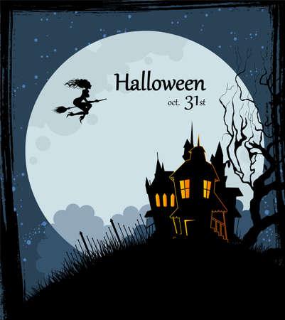 escoba: Ilustración vectorial de atrás de Halloween