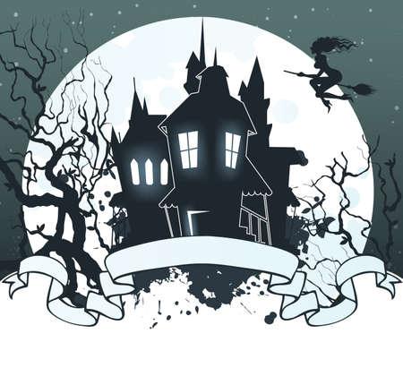 halloween castle: Vector illustration of Halloween back