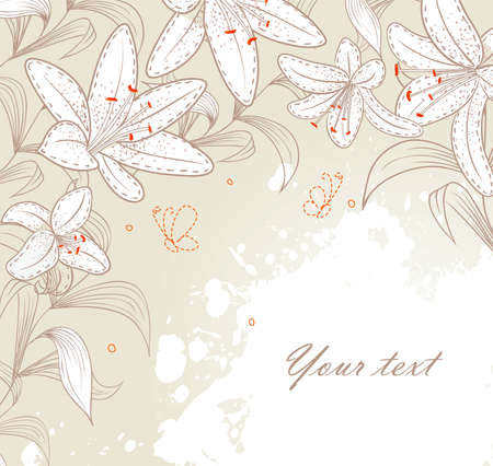lilly: Vector illustration of Floral back with blob