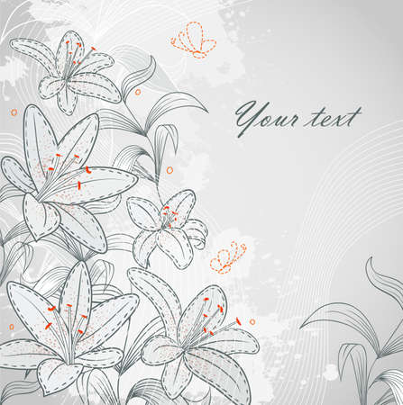 Vector illustration of Floral back with blob