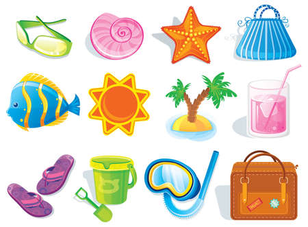 beach toys: Summer and travel icon set on white Illustration