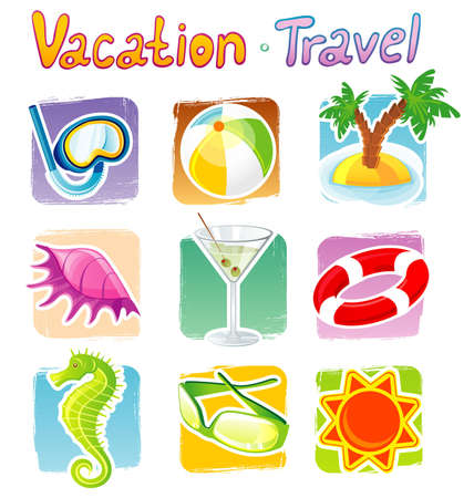 beach toys: Vector illustration of travel icons