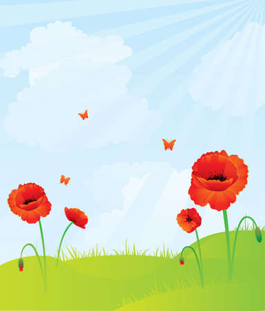 Red poppies back Stock Vector - 14867357